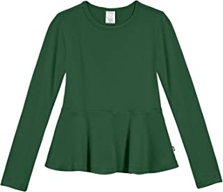 Girls Cotton Long Sleeve Peplum Top Blouse Shirt for School Or Play