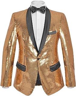 vidaXL Men's Sequin Dinner Jacket Tuxedo Blazer Gold Size 48 with Black Tie