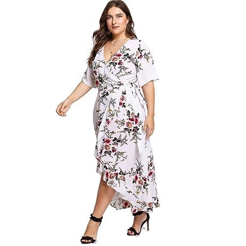 d28d12a694c60 Short Sleeve White Floral Wrap Dress: Amazon.com