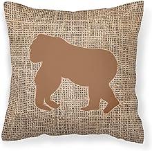 Caroline's Treasures BB1129-BL-BN-PW1818 Gorilla Burlap and Brown Canvas Fabric Decorative Pillow BB1129 Patio-Furniture-P...