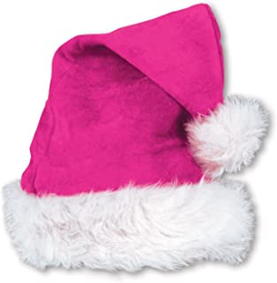 Beistle 1-Pack Pink Velvet Santa Hat with Plush Trim