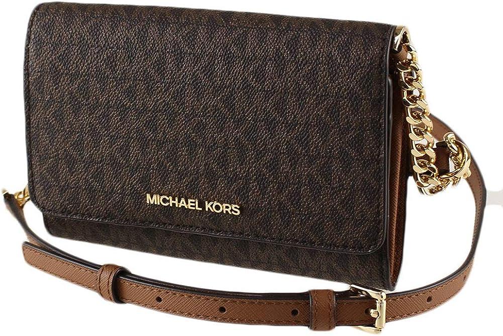 Michael Kors Women's 35F0GTVC8B Jet Set Travel Medium Multifunction Phone Xbody Crossbody Bag Wallet (Brown): Handbags: