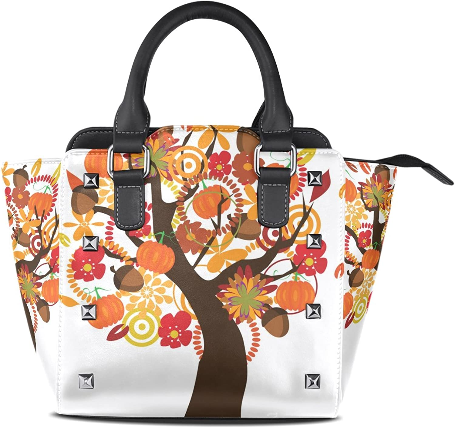 My Little Nest Women's Top Handle Satchel Handbag Thanksgiving Autumn Pumpkin Tree Ladies PU Leather Shoulder Bag Crossbody Bag