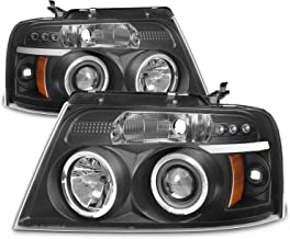 For Ford F150 F-150 Pickup Black Bezel Dual Halo LED G2 Projector Headlights Front Lamps Replacement