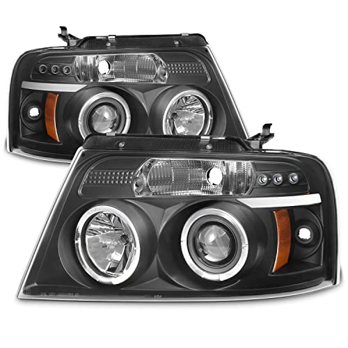For Ford F150 F 150 Pickup Black Bezel Dual Halo Led G2 Projector Headlights Front