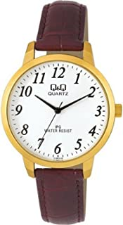 Q&Q Women's White Dial Leather Band Watch - C154J114Y