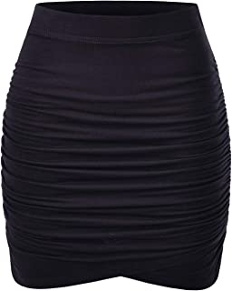NEARKIN Womens Slim Cut High Waist Elastic Shirring Midi Pencil Skirt