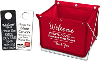 Foldable Shoe Cover Holder (Red) with Bonus Please Use Shoe Covers, Double Sided, Door Hanger