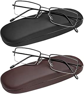 Reading Glasses Set of 2 Half Rim Ultra Lightweight Coordinating Cases Included and Durable Classic Readers for Men and Women