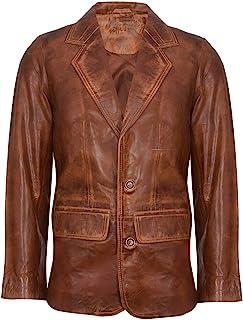 Men's Tan Genuine Leather Blazer Soft Real Italian Tailored Vintage Jacket Coat