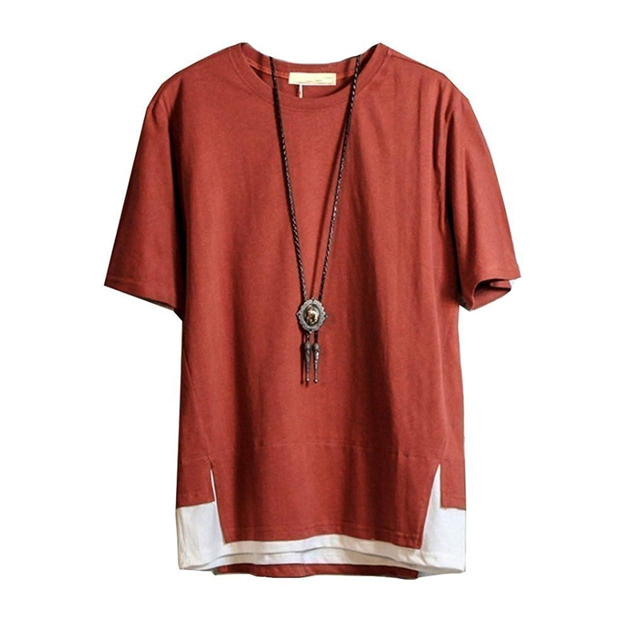 キャンドル支援する受取人Hisitosa Tシャツ 半袖 メンズ カットソー 無地 ネックレス付き 薄手 涼しいゆったり かっこいい カジュアル ファション