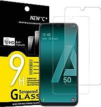 NEW'C Lot de 2, Verre Trempé Compatible avec Samsung Galaxy A50, Samsung Galaxy A50s, Film Protection écran sans Bulles d'air Ultra Résistant (0,33mm HD Ultra Transparent) Dureté 9H Glass