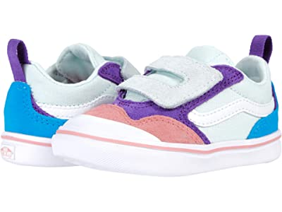 Vans Kids ComfyCush New Skool V (Infant/Toddler) ((Color-Block) Billowing Sail/True White) Girl