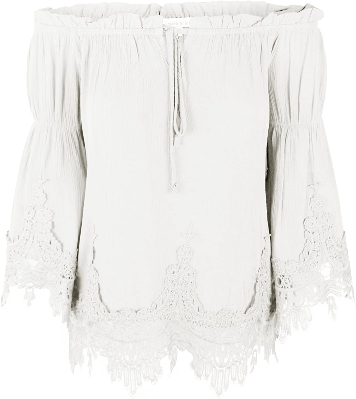 Makeitmint Women's Flounce Crinkle Blouse Top w Lace Crochet Trim
