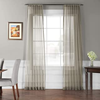 HPD Half Price Drapes SHCH-VOL6-120-PR Pair (2 Panels) Solid Voile Poly Sheer Curtain, 50 X 120, Museum Grey