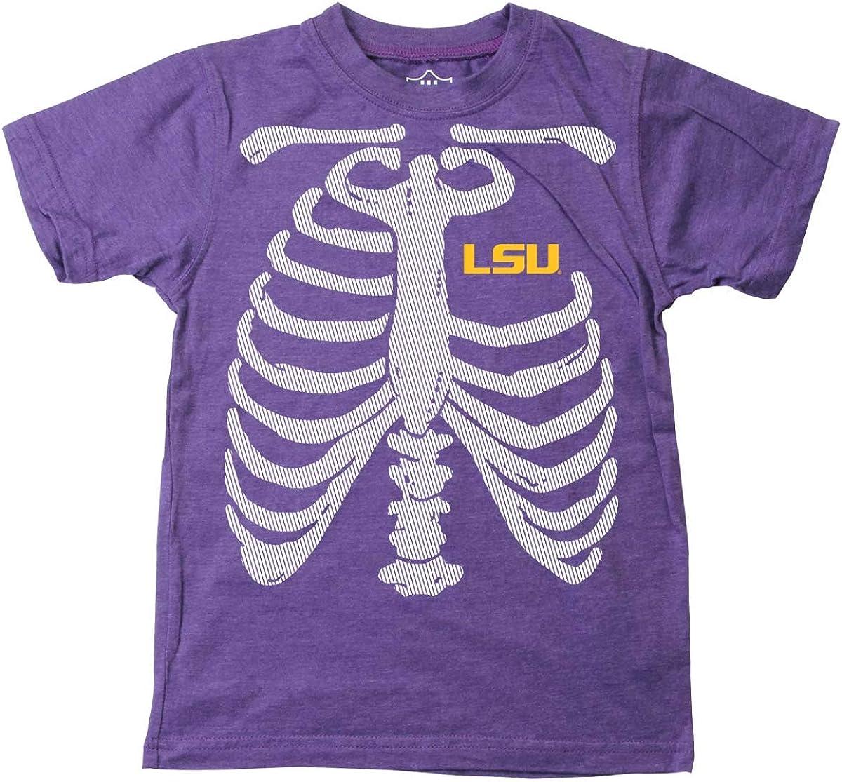 Wes & Willy LSU Tigers Boy's Glow Bones Tee