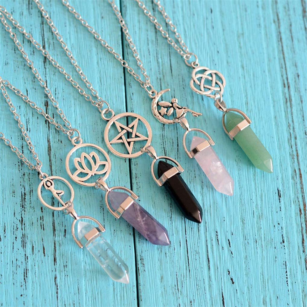 Timesuper Hexagonal Column Pendant Necklace Natural Stone Crystal Necklace Sweater Chain Necklace for Women