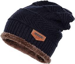 XWDA Men Women Soft Lined Thick Wool Knit Skull Cap Warm Winter Slouchy Beanies Hat