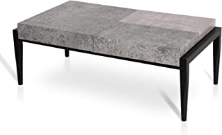 Mcombo Industrial Rectangular Coffee Table for Living Room Concept SoHo Flint Sofa Table in Slate Gray with Rustic Concrete Look Top Accent Cocktail Table, Dark Taupe,43x18x24 Inch,4 inch Thick