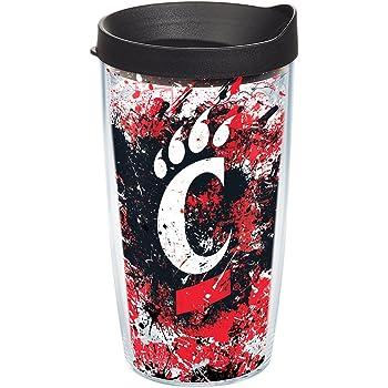 Tervis 1165386 Cincinnati Bearcats Splatter Tumbler with Wrap and Black Lid 16oz Clear