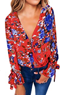 Womens Casual Floral Print Tie Long Sleeve Wrap V Neck Chiffon Blouses Tops Shirts