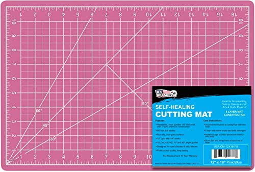 "US Art Supply 12"" x 18"" PINK/BLUE Professional Self Healing 5-Ply Double Sided Durable Non-Slip PVC Cutting Mat Great..."
