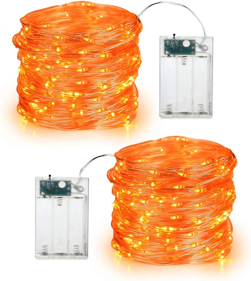 BrizLabs Orange Halloween Lights, 19.47ft 60 LED Orange Fairy Lights String, 2 Modes Battery Halloween String Lights, Indoor Silver Wire Twinkle Lights for Halloween Themed Party Carnival Decorations : Garden & Outdoor