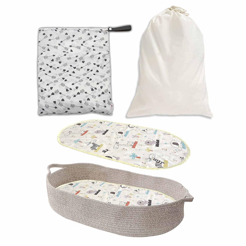5 pcs Changing Basket - Moses Basket- Diaper Changing Basket Includes Water Proof Mattress Liner, Large Wet Diaper Bag and Multipurpose Storage Bag