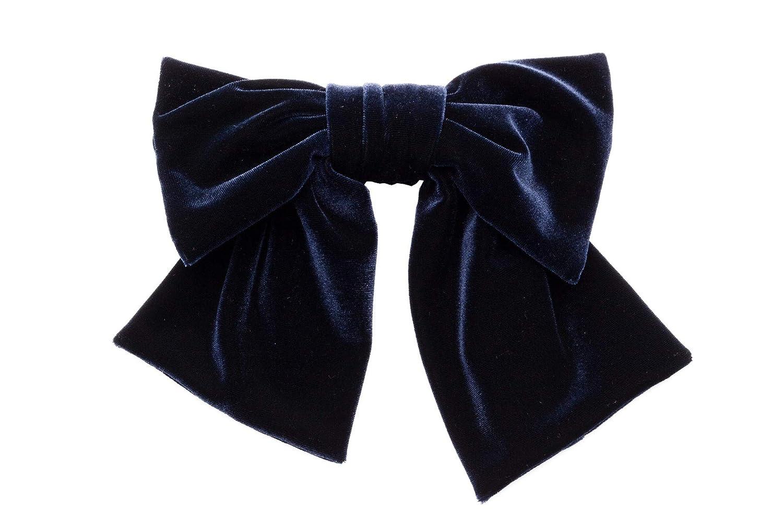 (ソウビエン) 髪飾り 成人式 卒業式 紺 無地 リボン ベルベット 和洋兼用 コーム 髪留め 卒業式 袴 日本製