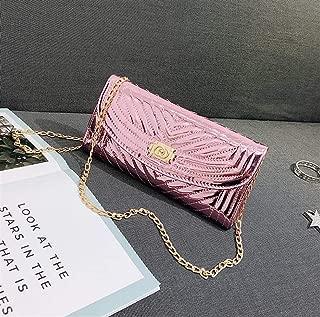Fashion Ladies Solid Bright Leather Crossbody Shoulder Bag Envelope Clutch (Pink) Girls Handbag
