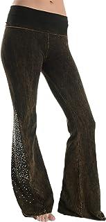 Womens Mineral Wash Rhinestone Bell Bottom Leggings