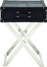 Benzara Single Drawer Leather Folding Table, 16.73 x 16.73 x 16.73, Black