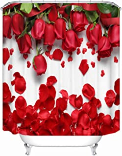 72x72 Inch Red Rose Petals Printed Polyester Fabric Shower Curtains for bathroom includes 12 Hooks