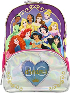 Princess Girl's 16 Inch School Backpack Bag (One Size, Purple/Pink)