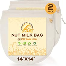 """2 Pcs Of Nut Milk Bags For Straining - 14""""x14"""" Reusable Organic Cotton Nut Bag - Easy To Clean, Easy To Use Nut Milk Bag F..."""