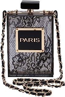 LETODE Women Acrylic Bag Black Paris Perfume Shape Evening Bags Purses Clutch Vintage Banquet Handbag