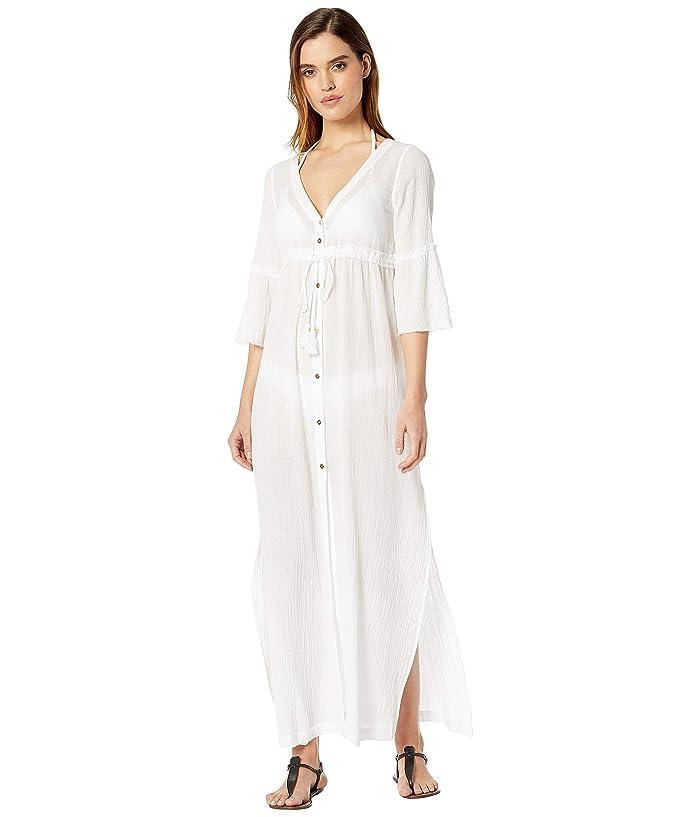 Heidi Klein Portofino Tie Front Maxi Kaftan (White/White) Women