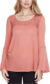 Jessica Simpson Women's Jr Bell-Sleeve Illusion Top Orange Small