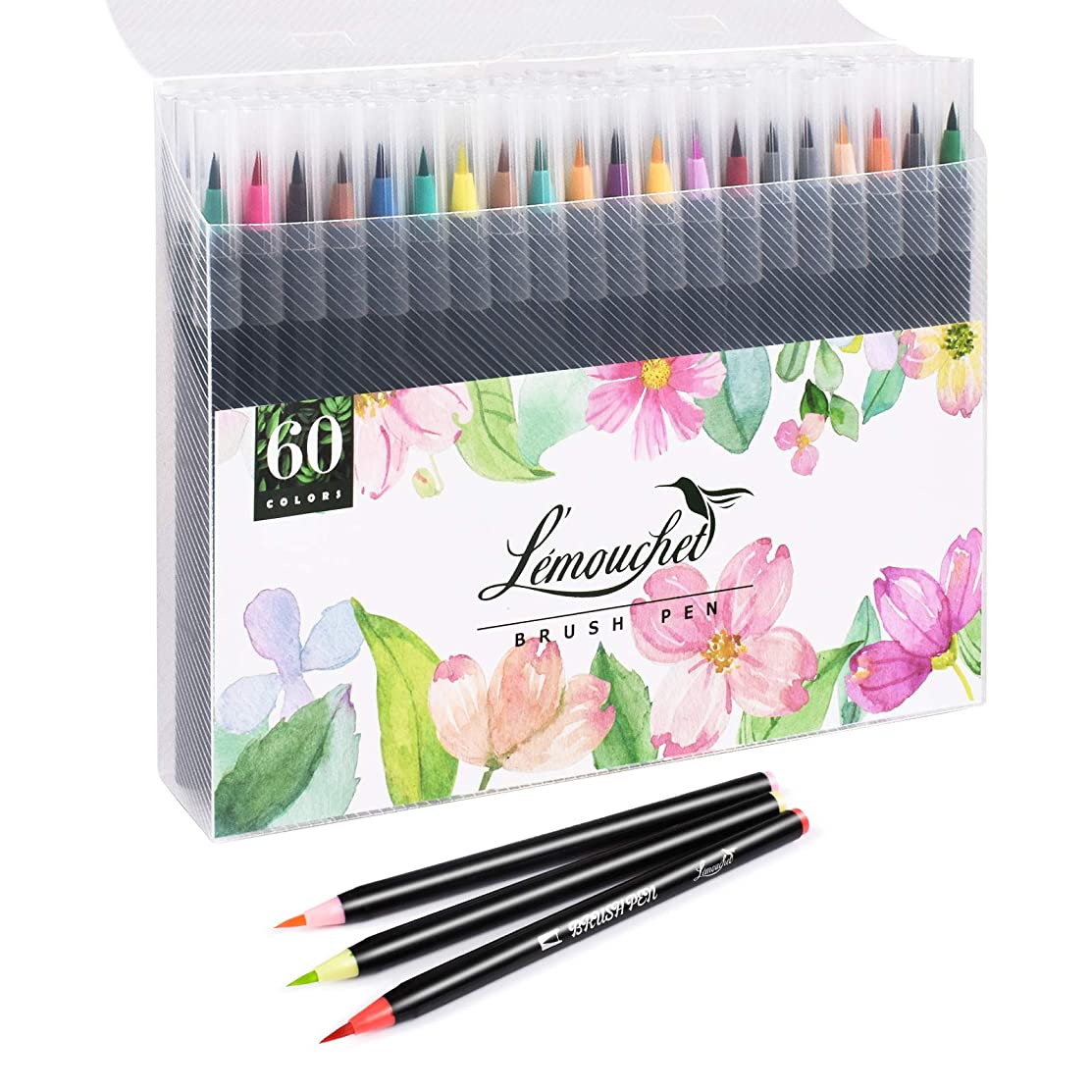 L'éMOUCHET 60 Watercolor Brush Markers Pen Art Markers, Water Based Drawing Marker Brushes Colored Pens Set for Adult Coloring Books Manga Comic Calligraphy Journal Note Taking Drawing Planner Art
