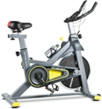 Wonder Maxi WSP6908H Indoor Exercise Bike - Belt Drive Stationary Bike with Adjustable Resistance and Senior LCD Monitor for Home Cardio Workout Bike Training (Gray & Yellow)