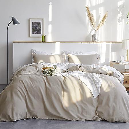 Bedsure Linen Duvet Cover Queen 55% Cotton 45% Linen Duvet Cover Set - 3 Pieces Comforter Cover Set (90 x 90 inchs,No Comforter Included)