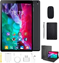 High Performance 2 in 1 Tablets, 10 inch Tablet PC, with Keyboard Mouse, Google GMS Certified, 3GB RAM 64GB Storage, 4G WiFi, Android 9.0 Quad-Core Processor, 8000 mAh, FM, GPS, Bluetooth, OTG (Black)