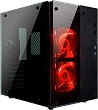 Rosewill CULLINAN PX Tempered Glass Full Window Desktop PC Computer Small Form Case, Red LED Lighting Fans, USB 3.0, 240mm...