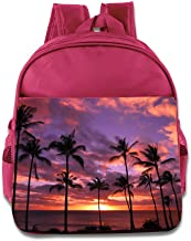 Palm Tree Sunset Kids Backpack Boys Girls School Bag(two Colors:pink Blue)