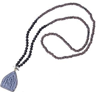 KELITCH 2020 Fortunato Buddha Argento Collane con Pendente Perline di Legno Collane Lunghe di Perline Nuove Collane di Cri...