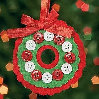 Fun Express Felt Button Wreath Ornament Craft Kit - Crafts-Makes 12