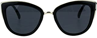 Runway Fashion Metal Bridge Trim Oversized Cat Eye Sunglasses