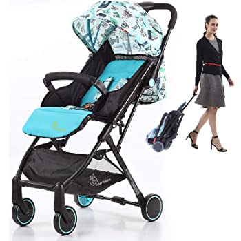 R for Rabbit Pocket Stroller Lite Portable Travel Friendly Pre Installed Baby Stroller and Pram for Baby Kids Infants New Born Boys Girls of 0 to 3 Years(Blue)