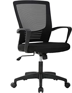 Ergonomic Office Chair Desk Chair Mesh Computer Chair with Lumbar Support Arms Modern Cute Swivel Rolling Task Mid Back Executive Chair for Women Men Adults Girls,Black