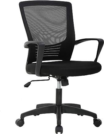 Office Chair Ergonomic Cheap Desk Chair Swivel Rolling Computer Chair Executive Lumbar Support Task Mesh Chair Metal Base for Women Men,Black